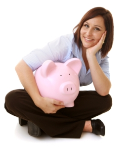 Woman w/ Piggy Bank